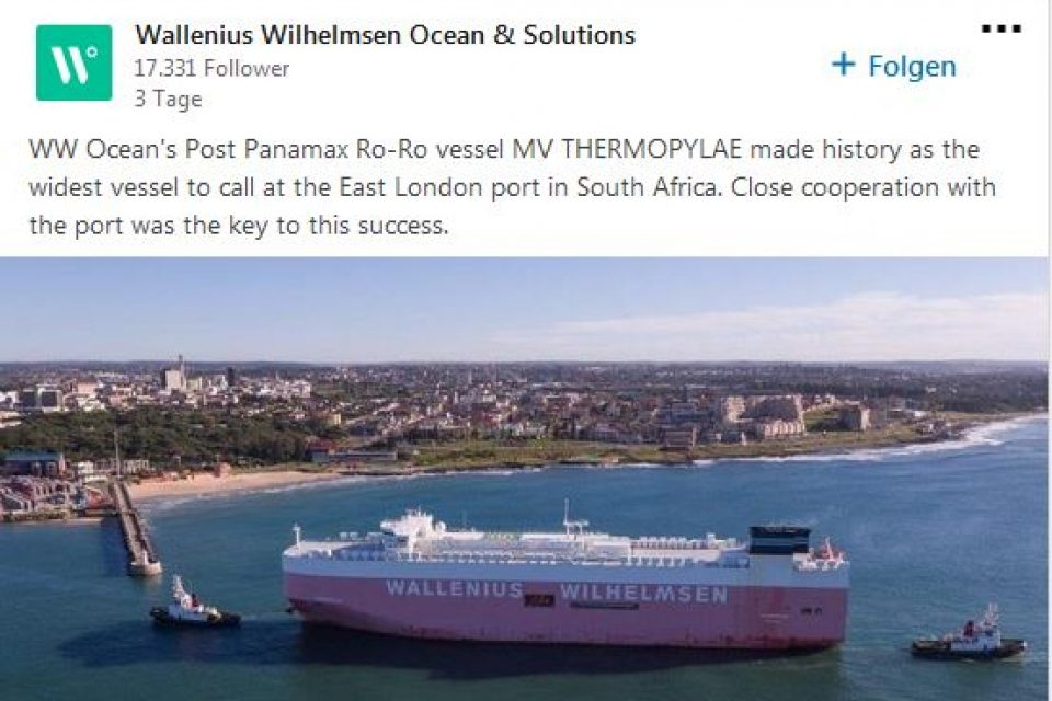 Wallenius Wilhelmsen: Post Panamax Ro-Ro vessel MV THERMOPYLAE made history